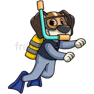 Beagle dog scuba diving. PNG - JPG and vector EPS file formats (infinitely scalable). Image isolated on transparent background.