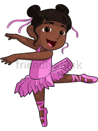 Black girl ballerina. PNG - JPG and vector EPS file formats (infinitely scalable). Image isolated on transparent background.