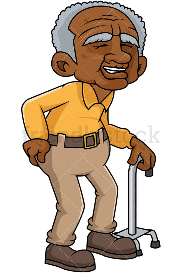 Black old man with hip pain. PNG - JPG and vector EPS file formats (infinitely scalable). Image isolated on transparent background.