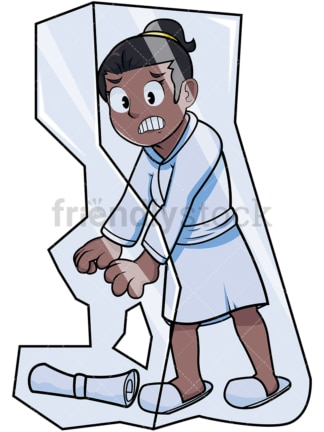 Black woman frozen in ice block. PNG - JPG and vector EPS file formats (infinitely scalable). Image isolated on transparent background.