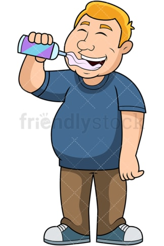 Overweight guy eating whipped cream. PNG - JPG and vector EPS file formats (infinitely scalable). Image isolated on transparent background.
