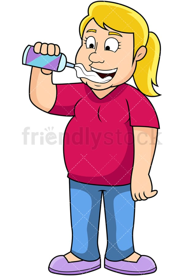 Overweight woman eating whipped cream. PNG - JPG and vector EPS file formats (infinitely scalable). Image isolated on transparent background.