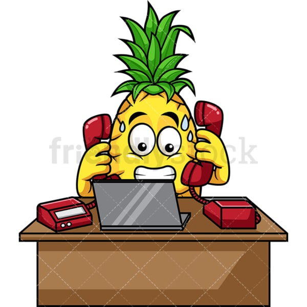 Pineapple behind desk working. PNG - JPG and vector EPS file formats (infinitely scalable). Image isolated on transparent background.