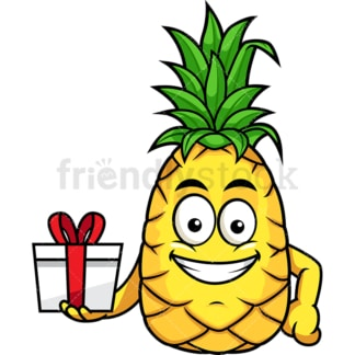 Pineapple holding gift wrapped present. PNG - JPG and vector EPS file formats (infinitely scalable). Image isolated on transparent background.