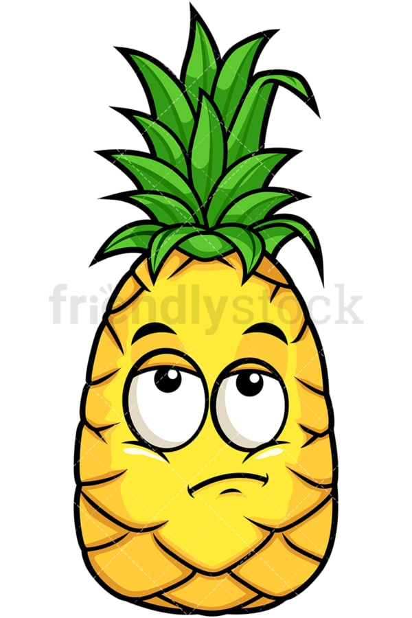 Pineapple rolling eyes. PNG - JPG and vector EPS file formats (infinitely scalable). Image isolated on transparent background.