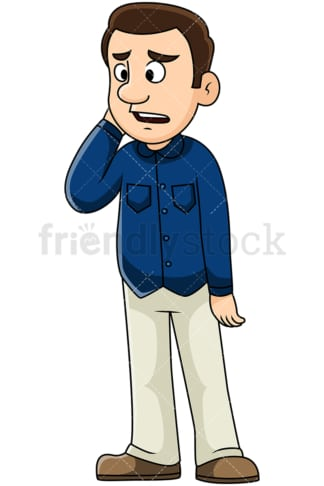 Sad man hearing bad news. PNG - JPG and vector EPS file formats (infinitely scalable). Image isolated on transparent background.