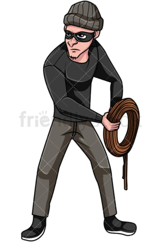 Thief holding rope. PNG - JPG and vector EPS file formats (infinitely scalable). Image isolated on transparent background.