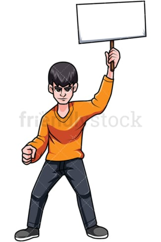 Young man protesting. PNG - JPG and vector EPS file formats (infinitely scalable). Image isolated on transparent background.
