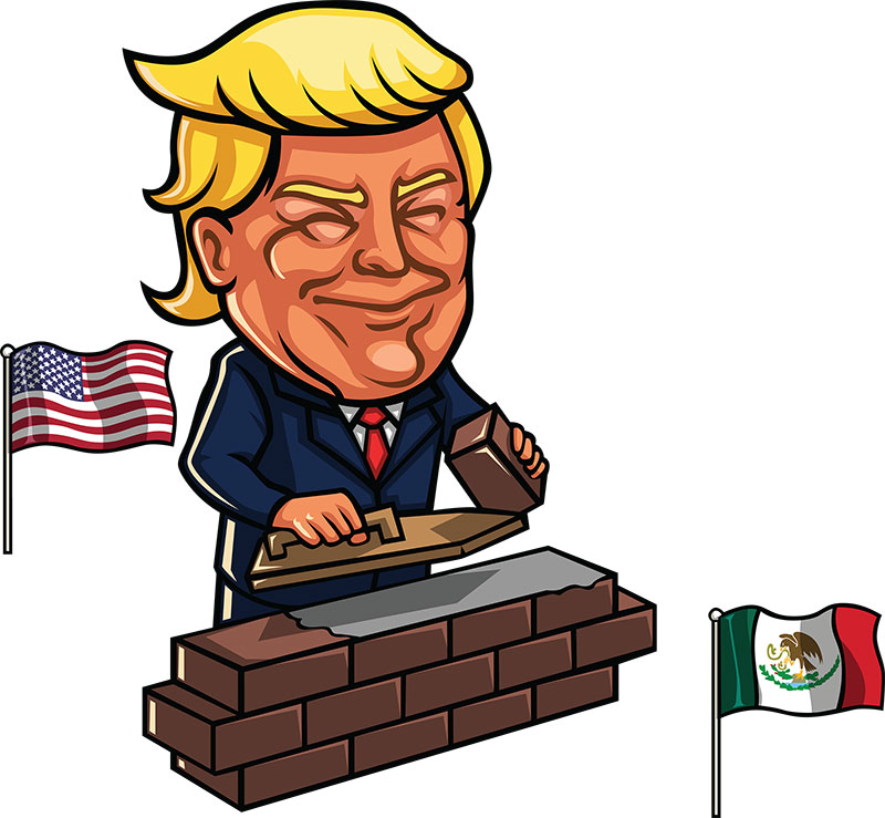 Trump Building Mexico Wall Cartoon