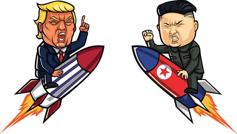 Angry Donald Trump and Kim Jong-un on nuclear missiles