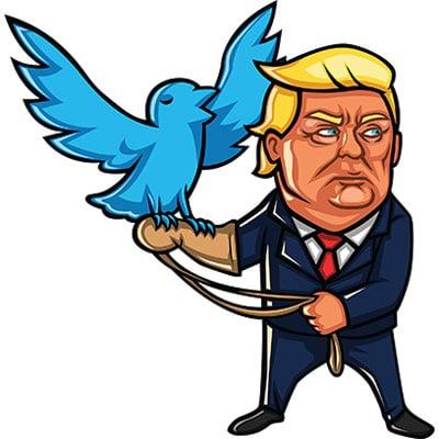 Donald Trump holding a Twitter bird