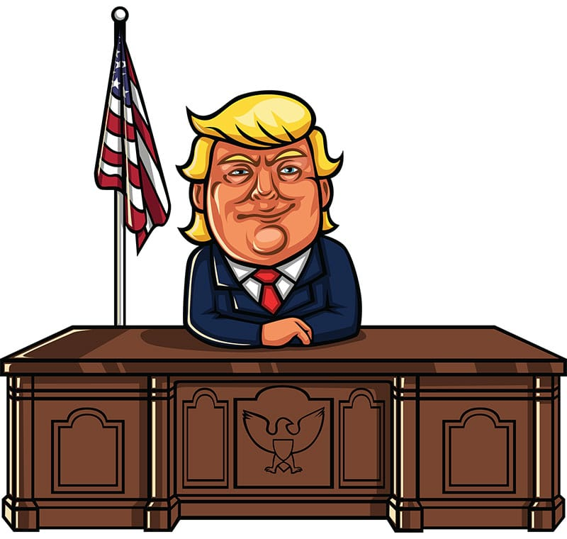 Donald Trump Sitting At His Desk
