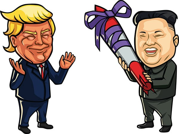 Kim Yong-Un gifting a nuclear missile to Donald Trump after a friendly meeting