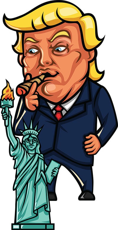 Trump lighting a cigar with the statue of liberty's torch