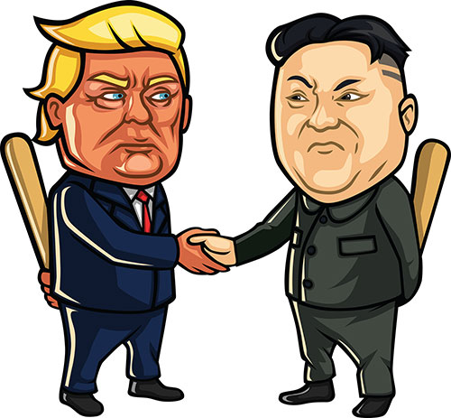 Donald Trump meets Kim Jong-Un but both do not trust each other and they're holding baseball bats behind their backs