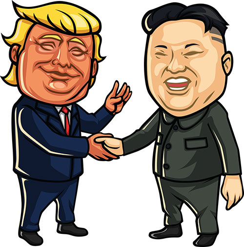Trump and Kim Yong-Un meeting in good faith - smiling and looking happy