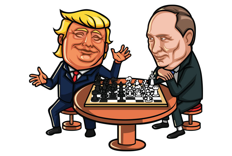 Trump And Putin Playing Chess