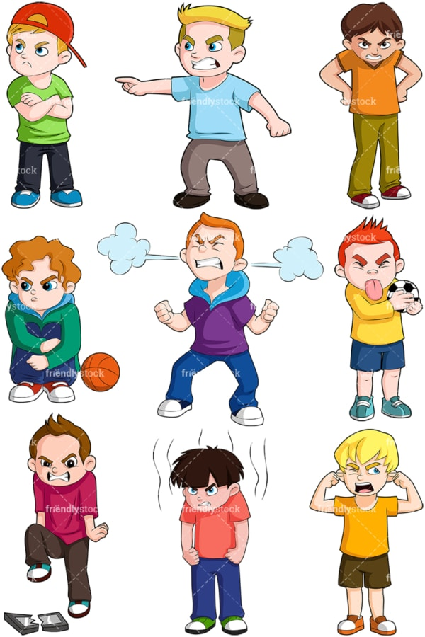 Angry boys. PNG - JPG and vector EPS file formats (infinitely scalable). Image isolated on transparent background.