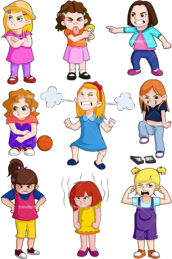 Angry little girls. PNG - JPG and vector EPS file formats (infinitely scalable). Image isolated on transparent background.
