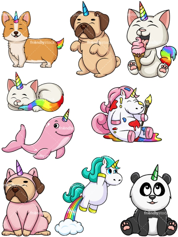 Animal unicorns. PNG - JPG and vector EPS file formats (infinitely scalable). Image isolated on transparent background.
