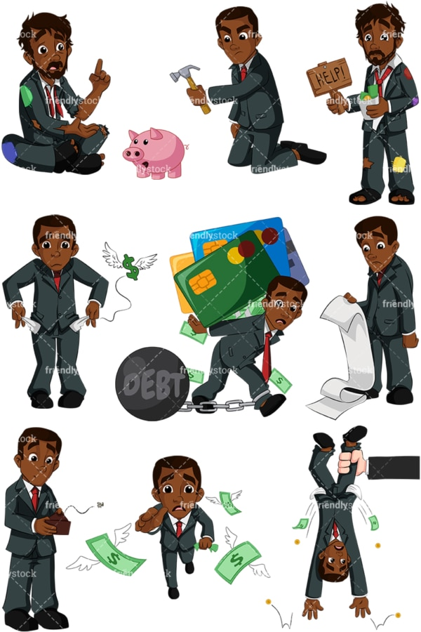 Black businessman in financial trouble. PNG - JPG and vector EPS (infinitely scalable). Images isolated on transparent background.