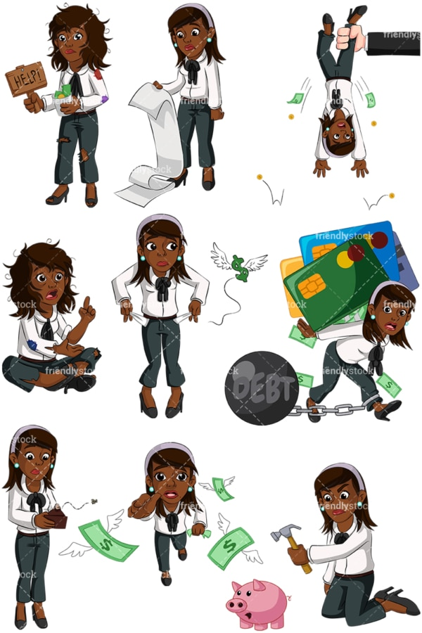 Black businesswoman in financial trouble. PNG - JPG and vector EPS (infinitely scalable). Images isolated on transparent background.