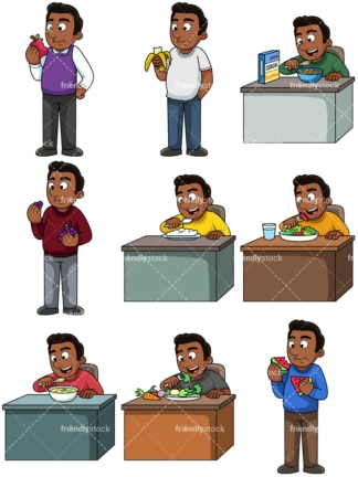 Black man enjoying healthy. PNG - JPG and vector EPS. Images isolated on transparent background.