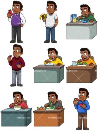 Black Man Eating Cereal Cartoon Vector Clipart Friendlystock