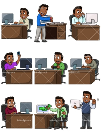 Black man using computers. PNG - JPG and vector EPS file formats (infinitely scalable). Images isolated on transparent background.