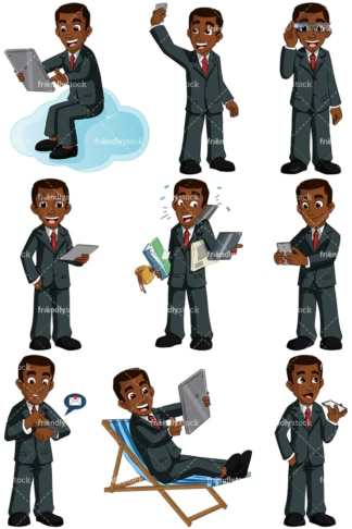 Black man using modern devices. PNG - JPG and vector EPS (infinitely scalable). Images isolated on transparent background.
