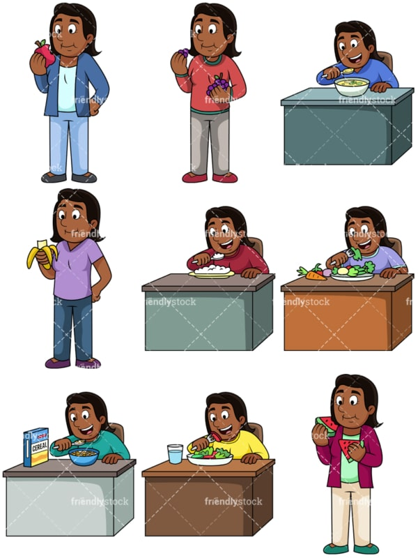 Black woman enjoying healthy. PNG - JPG and vector EPS. Images isolated on transparent background.