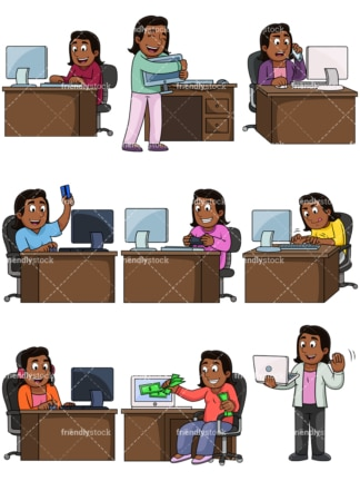 Black woman using computers. PNG - JPG and vector EPS file formats (infinitely scalable). Images isolated on transparent background.