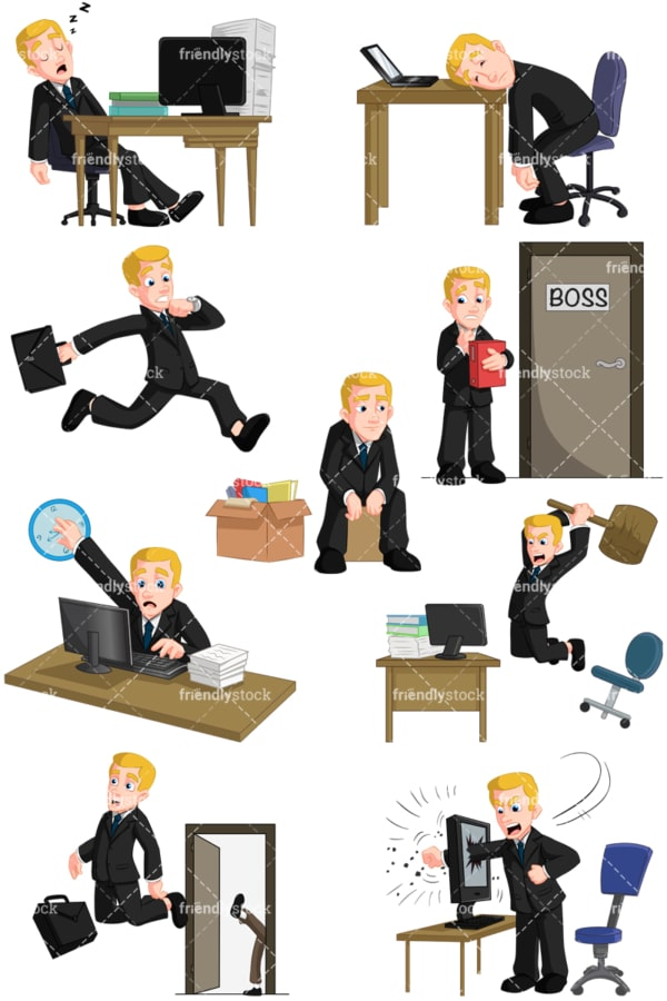 Businessman having problems at work. PNG - JPG and vector EPS (infinitely scalable). Images isolated on transparent background.