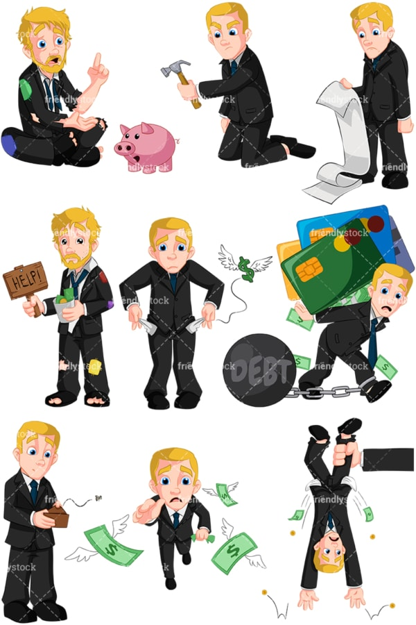 Businessman in financial trouble. PNG - JPG and vector EPS (infinitely scalable). Images isolated on transparent background.