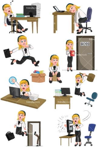 Businesswoman having trouble at work. PNG - JPG and vector EPS (infinitely scalable). Images isolated on transparent background.