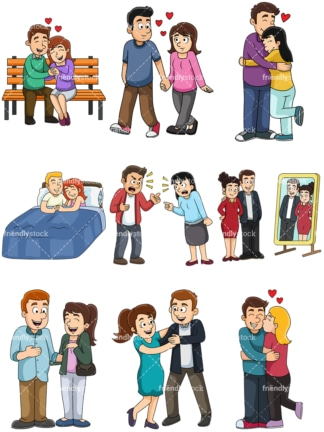 Cartoon couples. PNG - JPG and vector EPS file formats (infinitely scalable). Image isolated on transparent background.