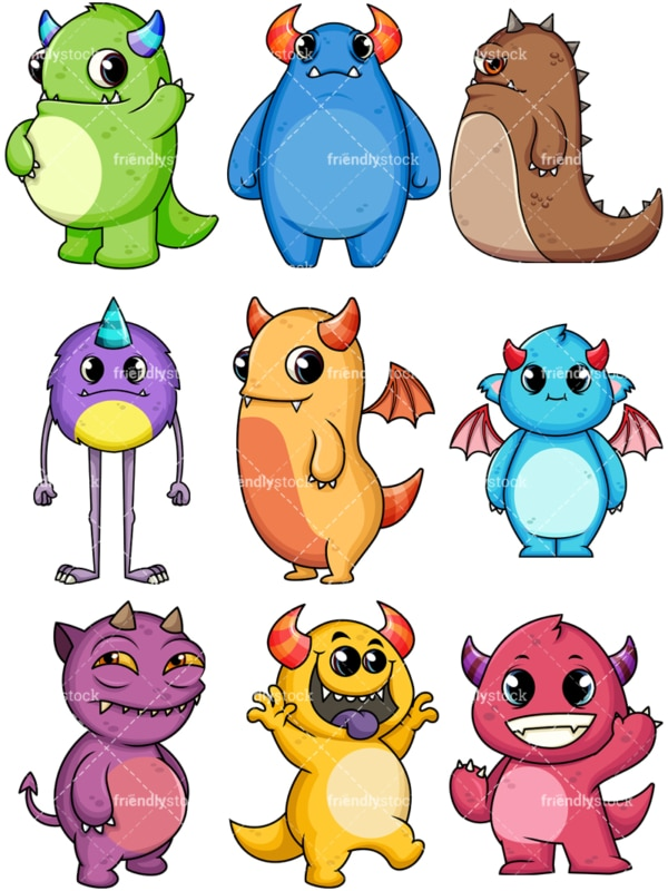 Cute monsters. PNG - JPG and vector EPS file formats (infinitely scalable). Image isolated on transparent background.