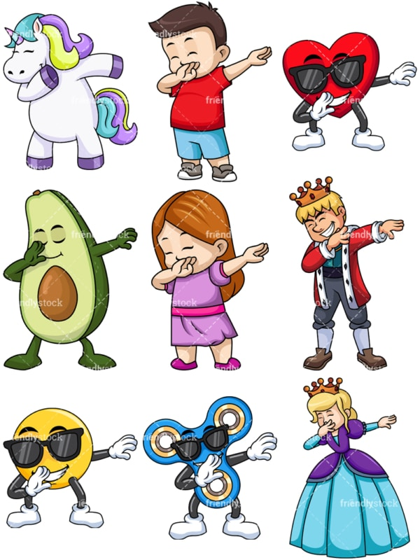 Dabbing collection 11. PNG - JPG and vector EPS file formats (infinitely scalable). Images isolated on transparent background.