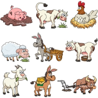 farm cow eating grass cartoon vector clipart friendlystock rh friendlystock com clipart farm animals cartoon farm animals clipart sheep