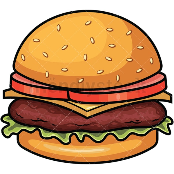 Hamburger with cheese and lettuce. PNG - JPG and vector EPS file formats (infinitely scalable). Images isolated on transparent background.