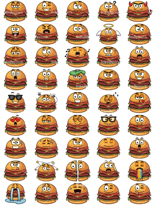 Hamburger emoticons bundle. PNG - JPG and vector EPS file formats (infinitely scalable). Images isolated on transparent background.