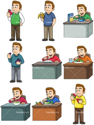 Man enjoying healthy foods. PNG - JPG and vector EPS. Images isolated on transparent background.