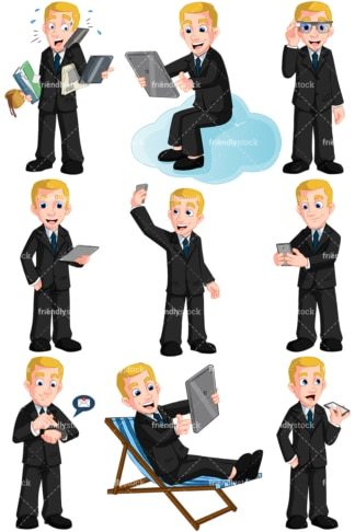 Man using modern devices. PNG - JPG and vector EPS (infinitely scalable). Images isolated on transparent background.