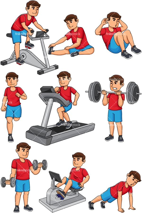 Man working out. PNG - JPG and vector EPS file formats (infinitely scalable). Images isolated on transparent background.