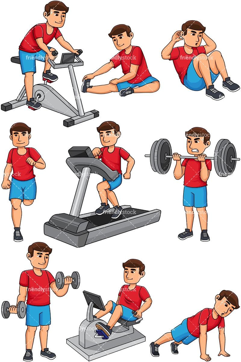 Man Working Out Cartoon Vector Clipart - FriendlyStock