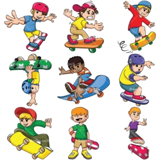 Men skateboarding. PNG - JPG and vector EPS file formats (infinitely scalable). Images isolated on transparent background.