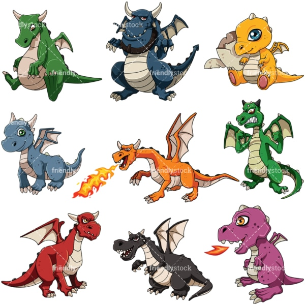 Mythical dragons. PNG - JPG and vector EPS file formats (infinitely scalable). Image isolated on transparent background.