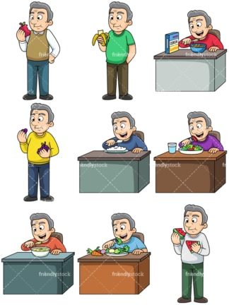 Old man enjoying healthy food. PNG - JPG and vector EPS. Images isolated on transparent background.