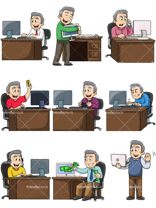 Old man using computers. PNG - JPG and vector EPS file formats (infinitely scalable). Images isolated on transparent background.