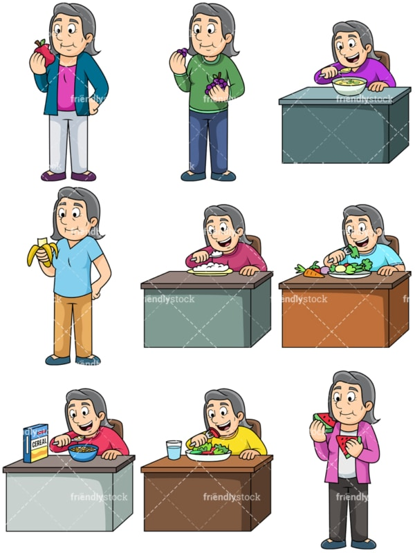 Old woman enjoying healthy food. PNG - JPG and vector EPS. Images isolated on transparent background.